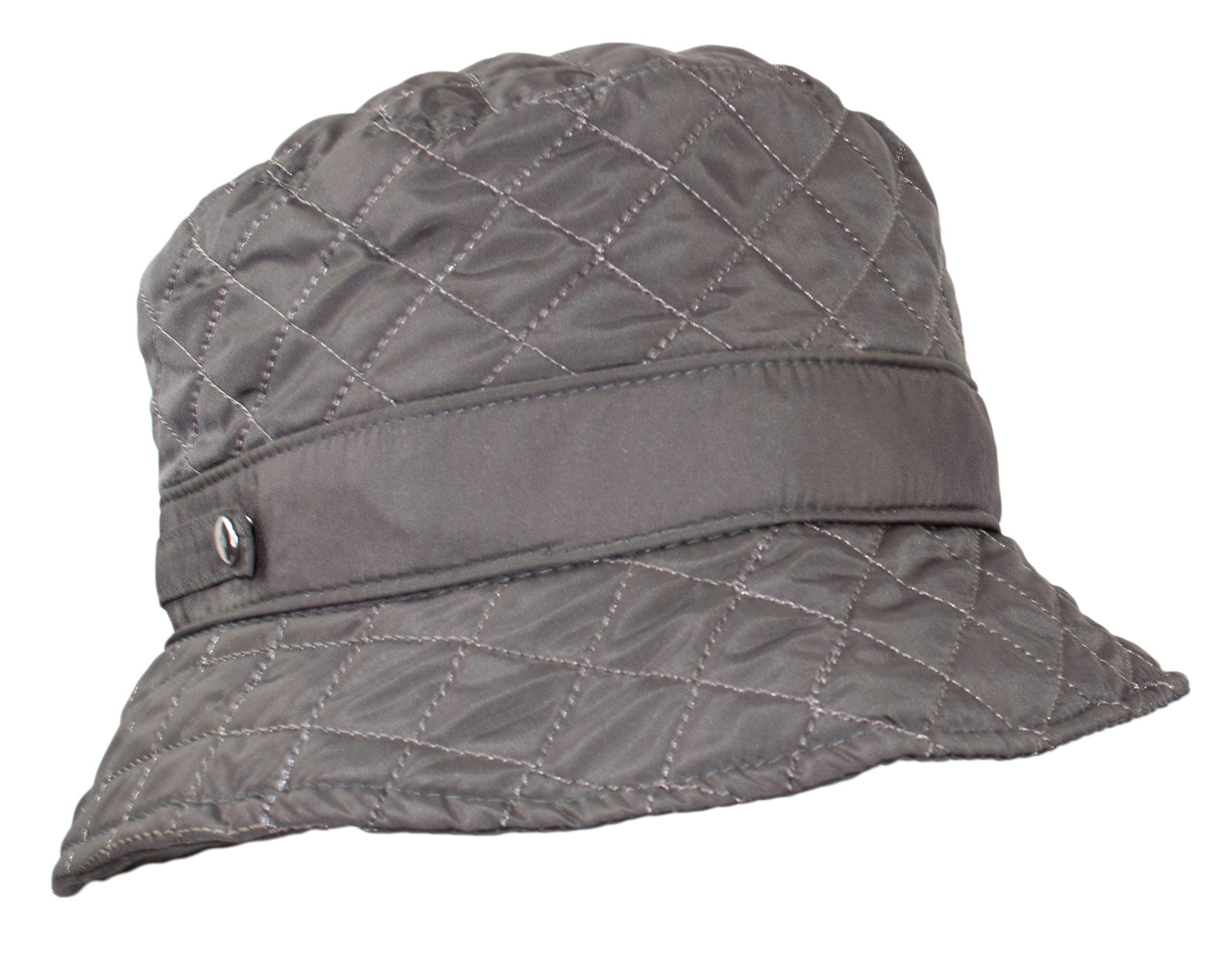 Cute Quilted Accent Bucket Rain Hat, Water Repellent Roll-Up Cap w/Fleece Lining (Grey)