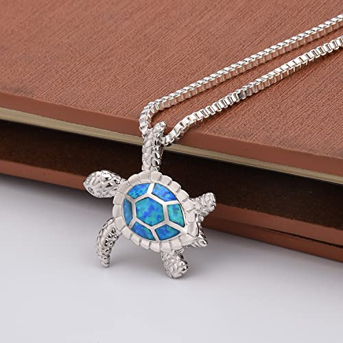 Fire Opal Necklace, TONVER 925 Sterling Silver Blue Opal Turtle Pendant Necklace Mothers Day Gifts