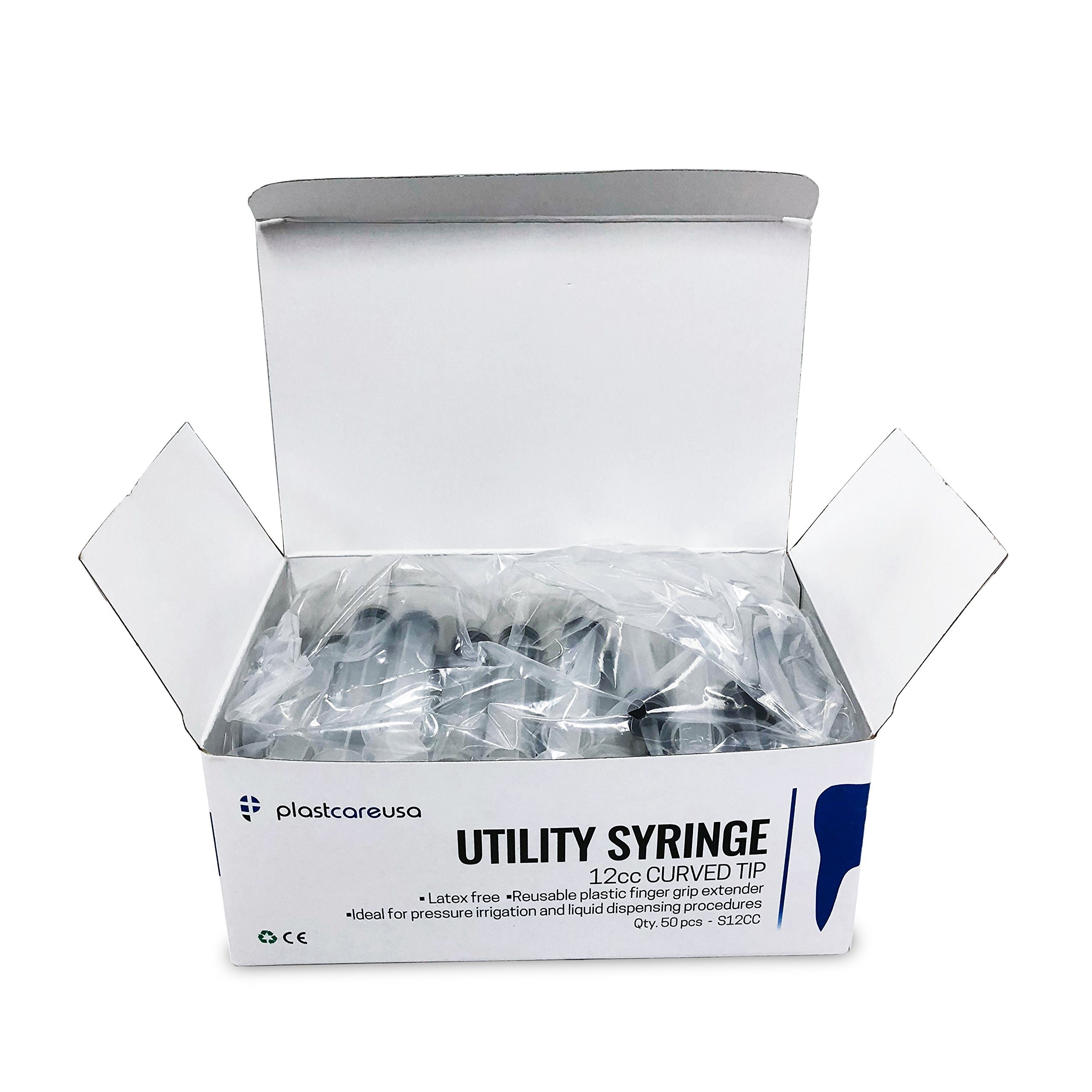 Box of 50 Curved Tip 12cc Irrigation Syringes Disposable Dental Utility