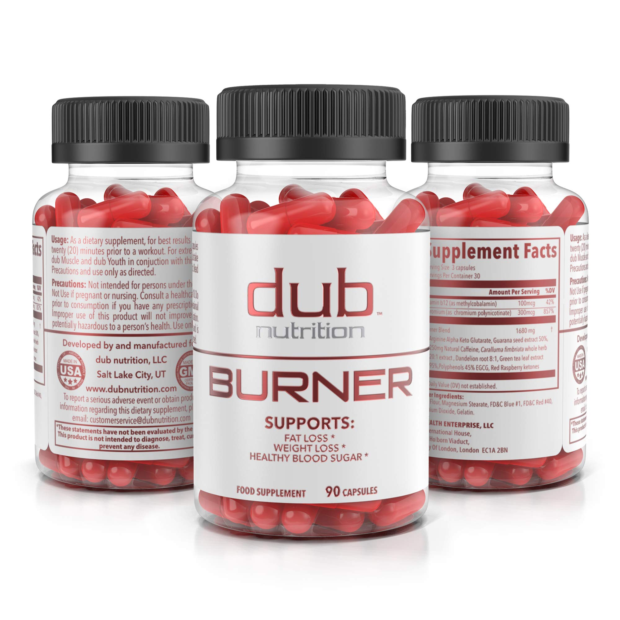 Fat Burner by dub Nutrition | Best Weight Loss Pills Thermogenic Supplement | Natural Energy and Appetite Suppressant, Includes Red Rasberry Ketones, Guarana, and BCAA. Healthy Blood Sugar Levels.