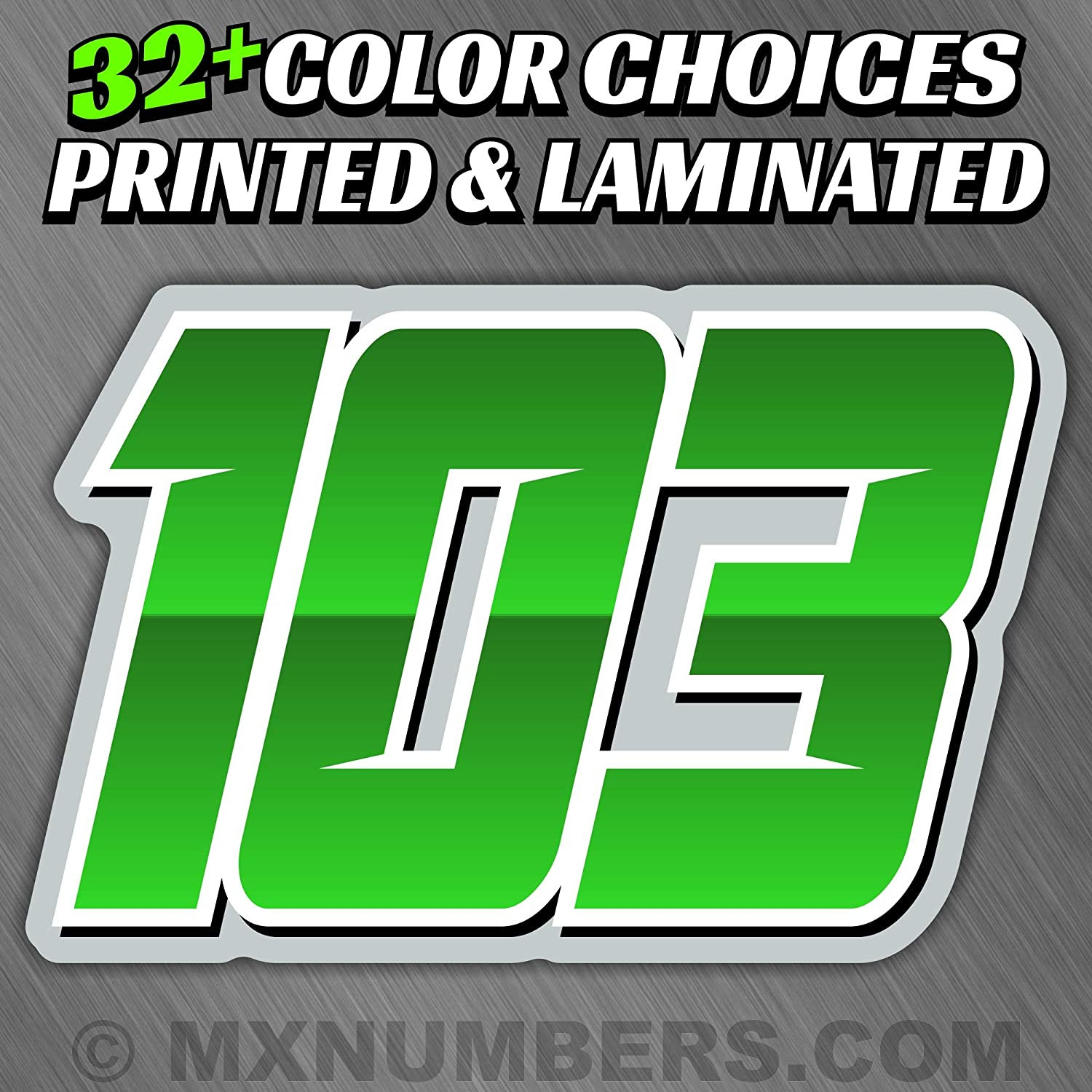 MX /& ATV Number Plate Decals Set of 3 Multicolored Race Numbers You Pick Your Number /& Colors