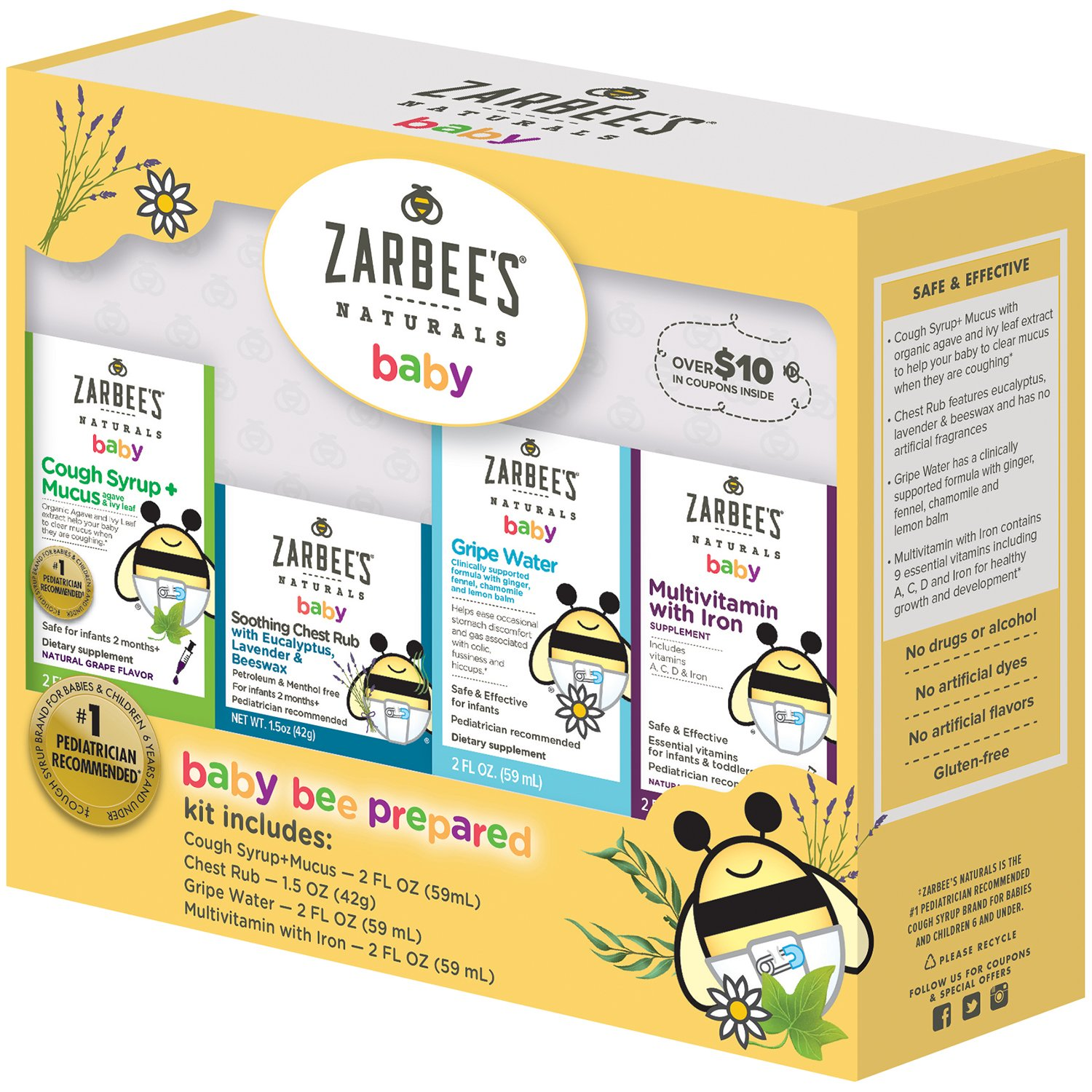 Zarbee's Naturals Baby Bee Prepared Kit, Including Cough Syrup + Mucus, Chest Rub, Gripe Water, Multivitamin with Iron, by Zarbee's Naturals