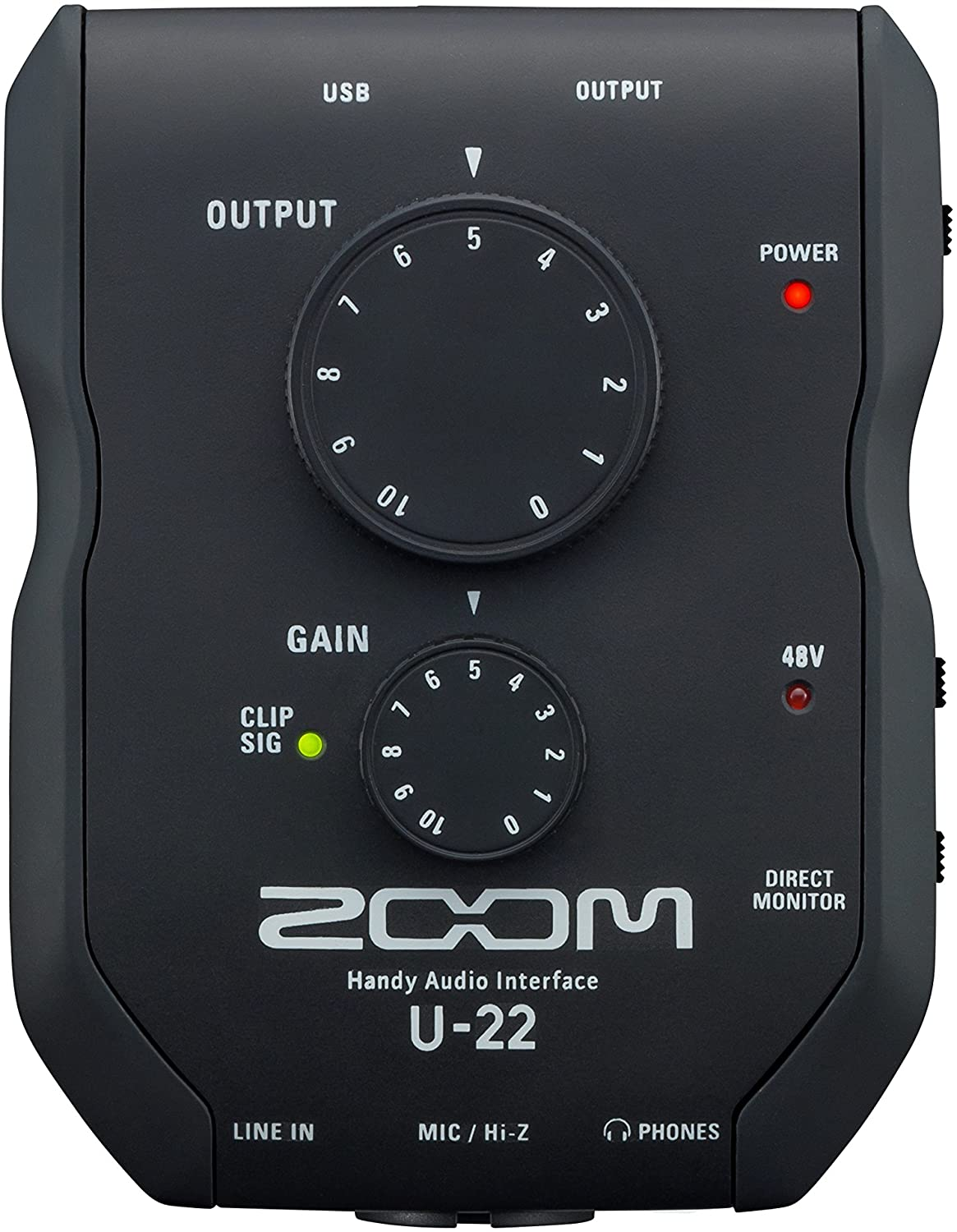 Zoom U-22 Handy Audio Interface, 2-Channel Portable USB Audio Interface, 1 XLR/TRS Input, Battery or Bus Powered, Phantom Power