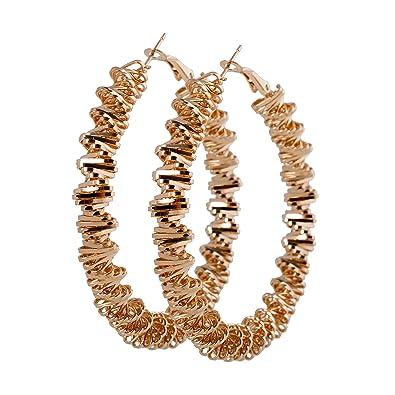 05000982e487 geralin Gioielli Mujer Pendientes Grandes Oro Pendientes de aro espirales  Fashion Pendientes Vintage  Amazon.es  Joyería