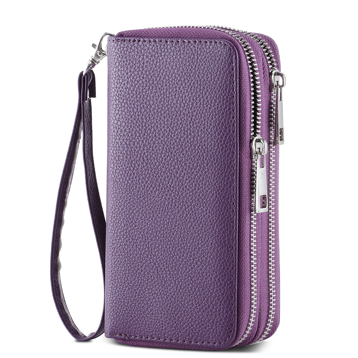 HAWEE Cellphone Wallet Dual Zipper Wristlet Purse with Credit Card Case/Coin Pouch/Smart Phone Pocket Soft Leather for Women or Lady, Purple-Lichi