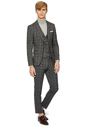 b8966d3bfa611 Moss London Men s Skinny Fit Charcoal White Check 2 Piece Suit 46S Grey