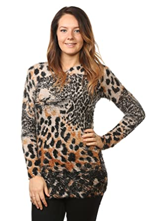 655bc53c8474a6 Ladies Women's Fluffy Knitted Animal Print Stretched Sweater Tops Jumper  10-14[Tiger Print