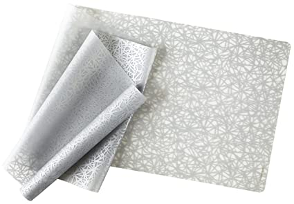 Charmant Modern Twist Twine Pattern, Silver Color Silicone Rectangle Table Runner  For Dining And Decoration