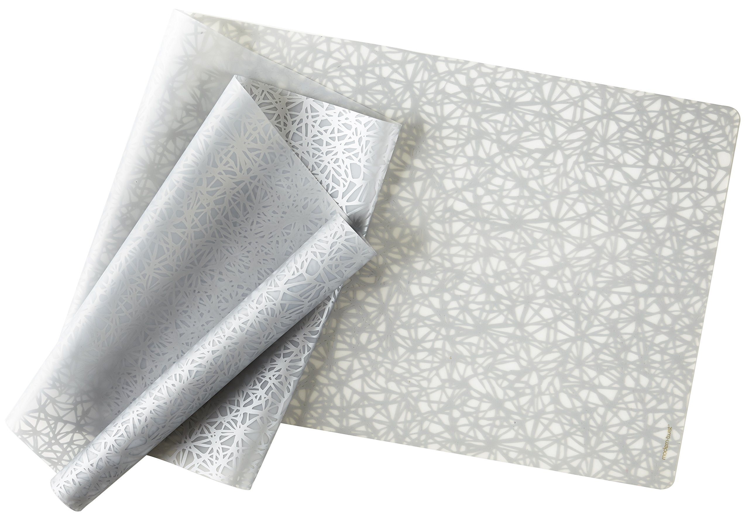 Modern-Twist, Silicone Table Runner, 72'' x 14'', Twine Pattern, Silver
