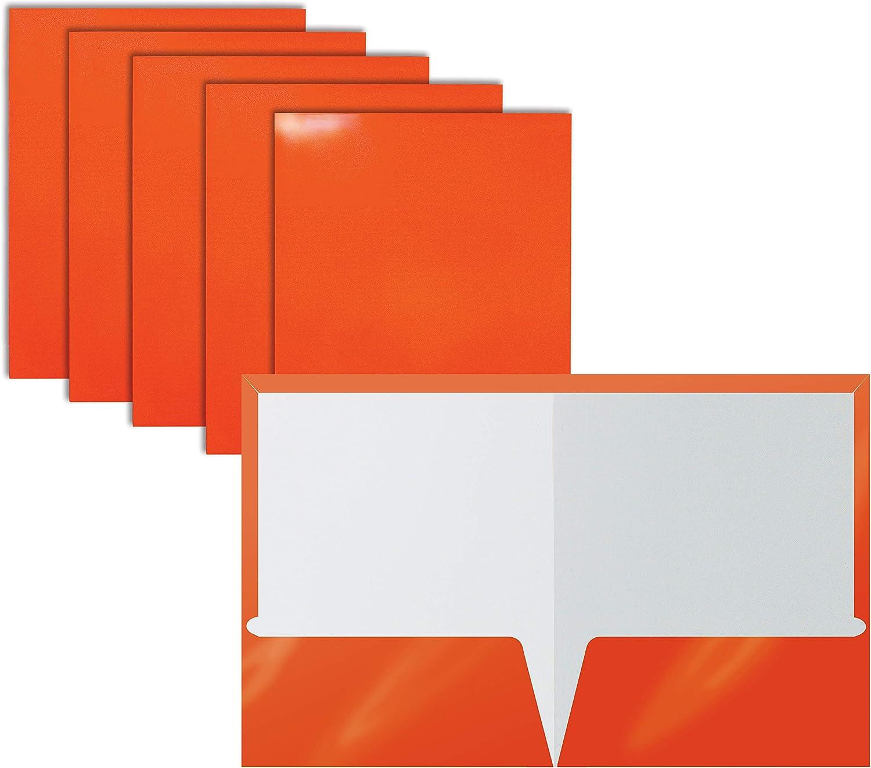 2 Pocket Glossy Laminated Orange Paper Folders, Letter Size, Orange Paper Portfolios by Better Office Products, Box of 25 Orange Folders