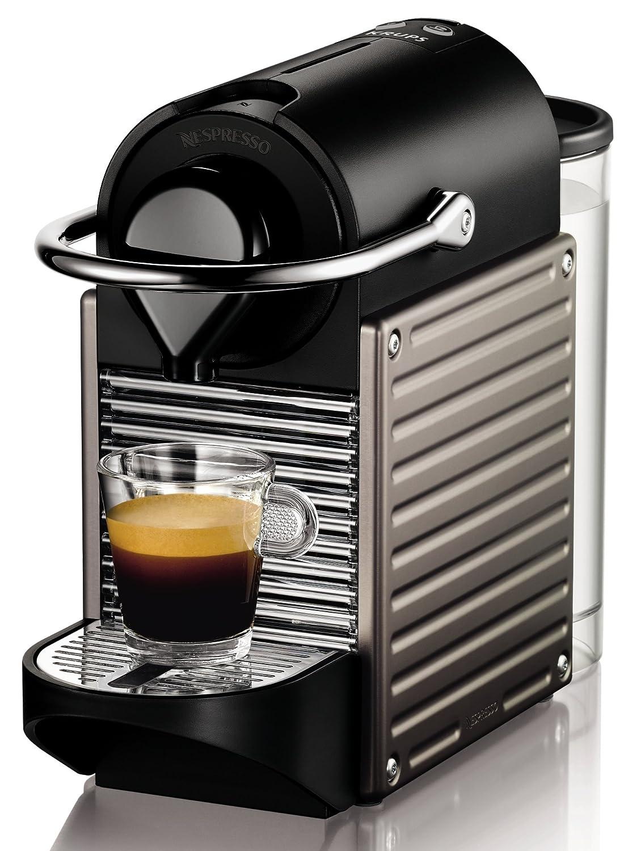 Nespresso Krups Pixie XN3005 - Cafetera monodosis de cápsulas Nespresso, 19 bares, apagado automático, color titán