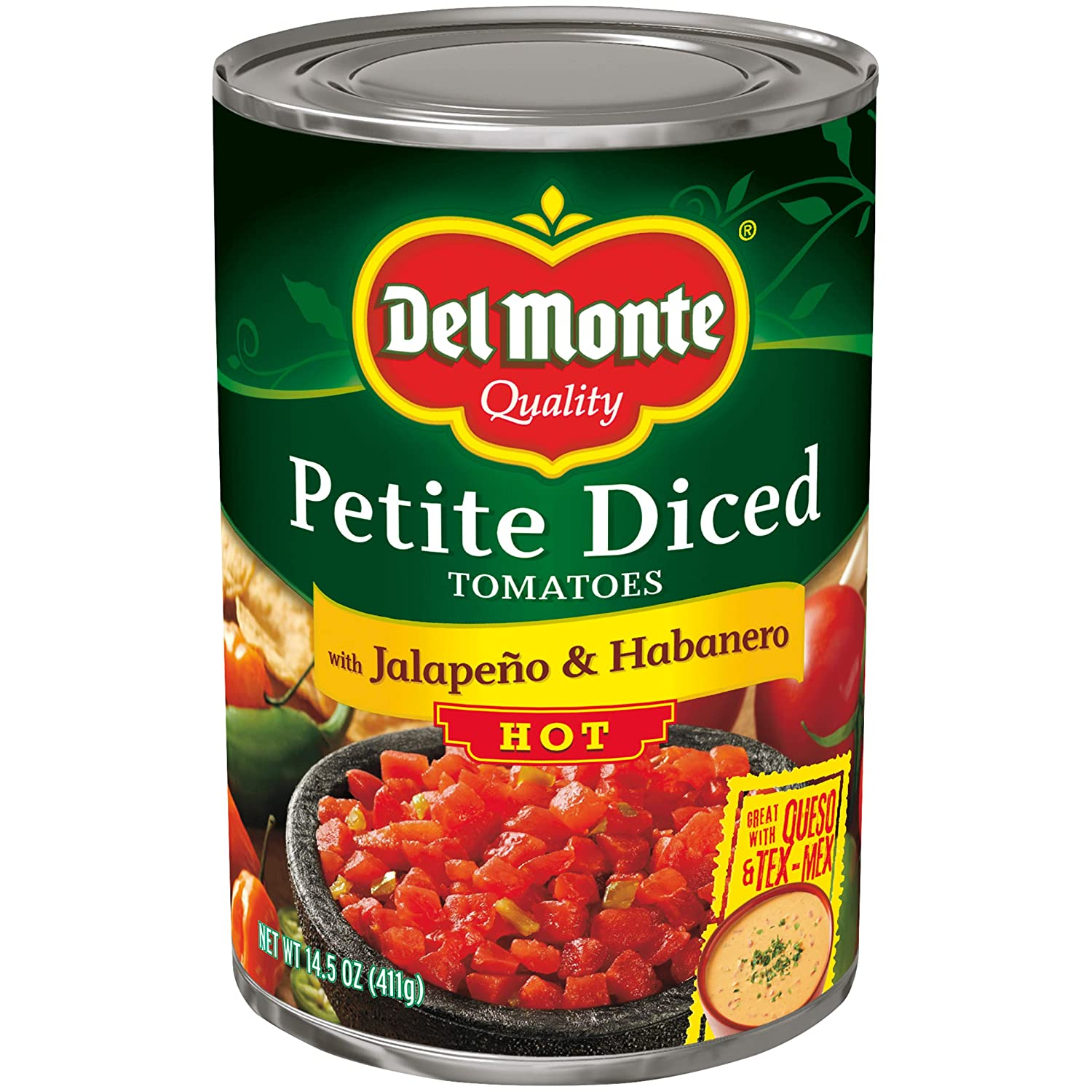 Amazon Com Del Monte Petite Canned Hot Diced Tomatoes With Jalapeno And Habanero 14 5 Ounce Pack Of 12 Grocery Gourmet Food