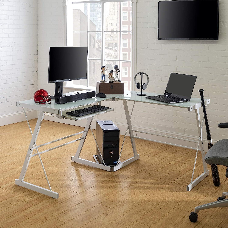 WE Furniture Modern Corner Glass Computer Gaming Gamer Command Center Desk, 51 Inch, White