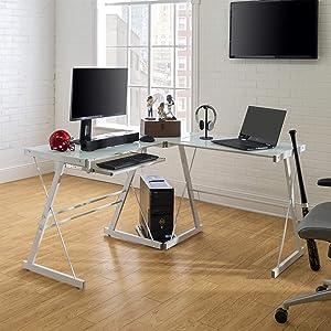 Walker Edison Modern Corner L Shaped Glass Computer Writing Gaming