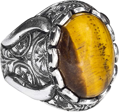 Tiger-Eye Natural Gemstone Falcon Jewelry Mens Sterling Silver Ring