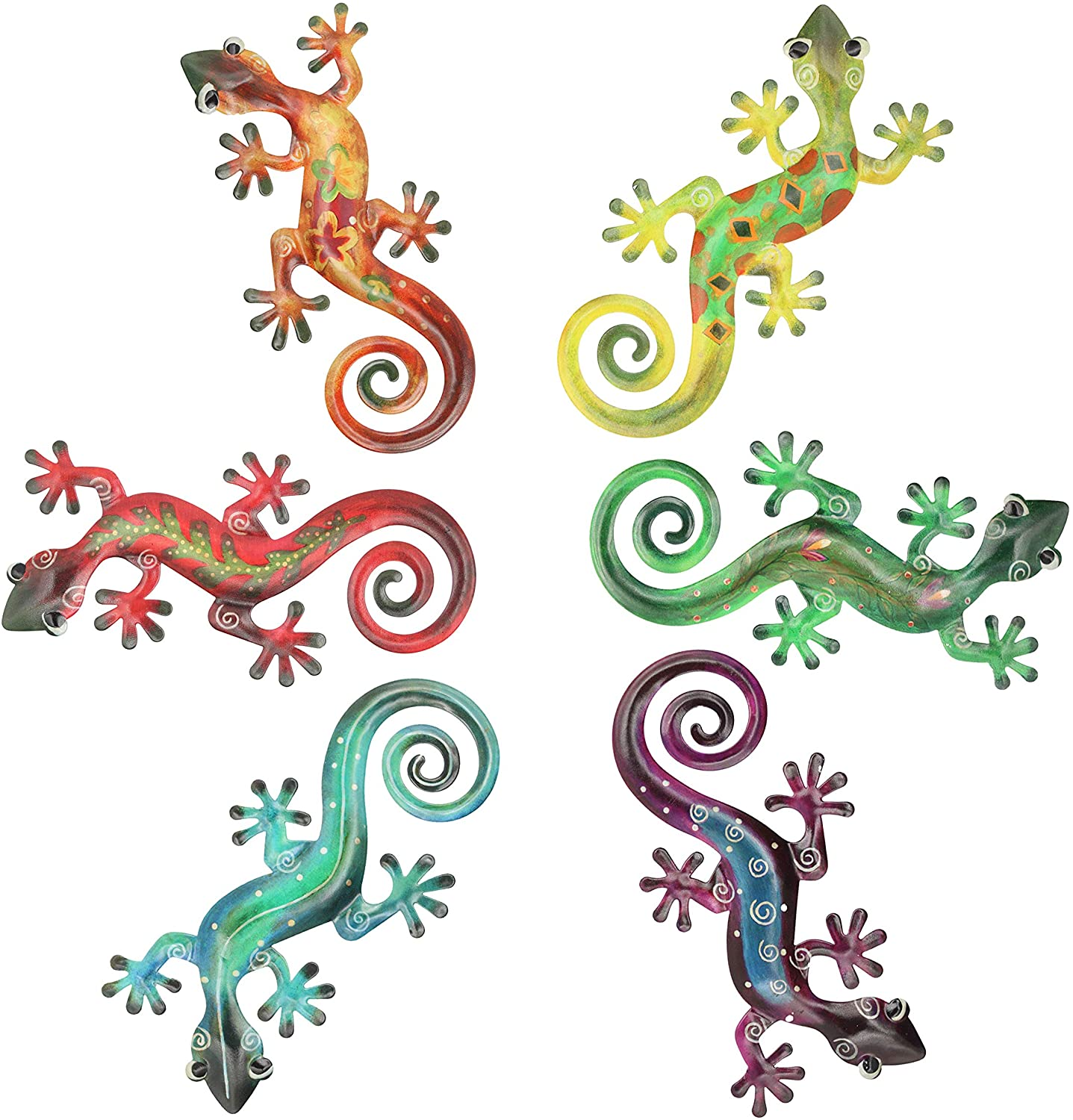 Hanizi Metal Gecko Wall Decor Wall Sculpture Hanging Art Indoor Outdoor, 6 Pack 8.5 x 6.1 inches