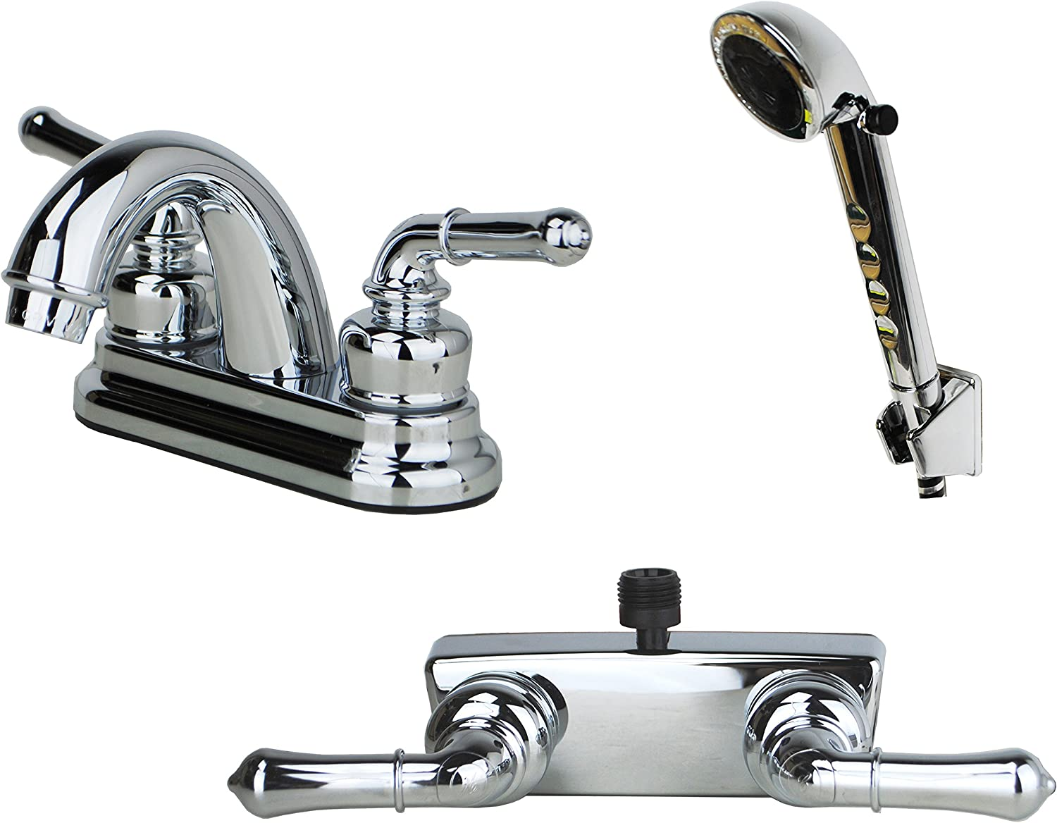 Builders Shoppe 2001CP/3220CP/4120CP RV Bathroom Faucet with Matching Hand Shower Combo Chrome Finish