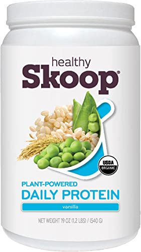 Plant Based Protein Daily Protein Powder Healthy Skoop USDA Certified Organic BCAAs Vegan, Dairy Free, Gluten Free, Non-GMO Vanilla 20 Servings 19 Ounces, 19 Ounce Tub