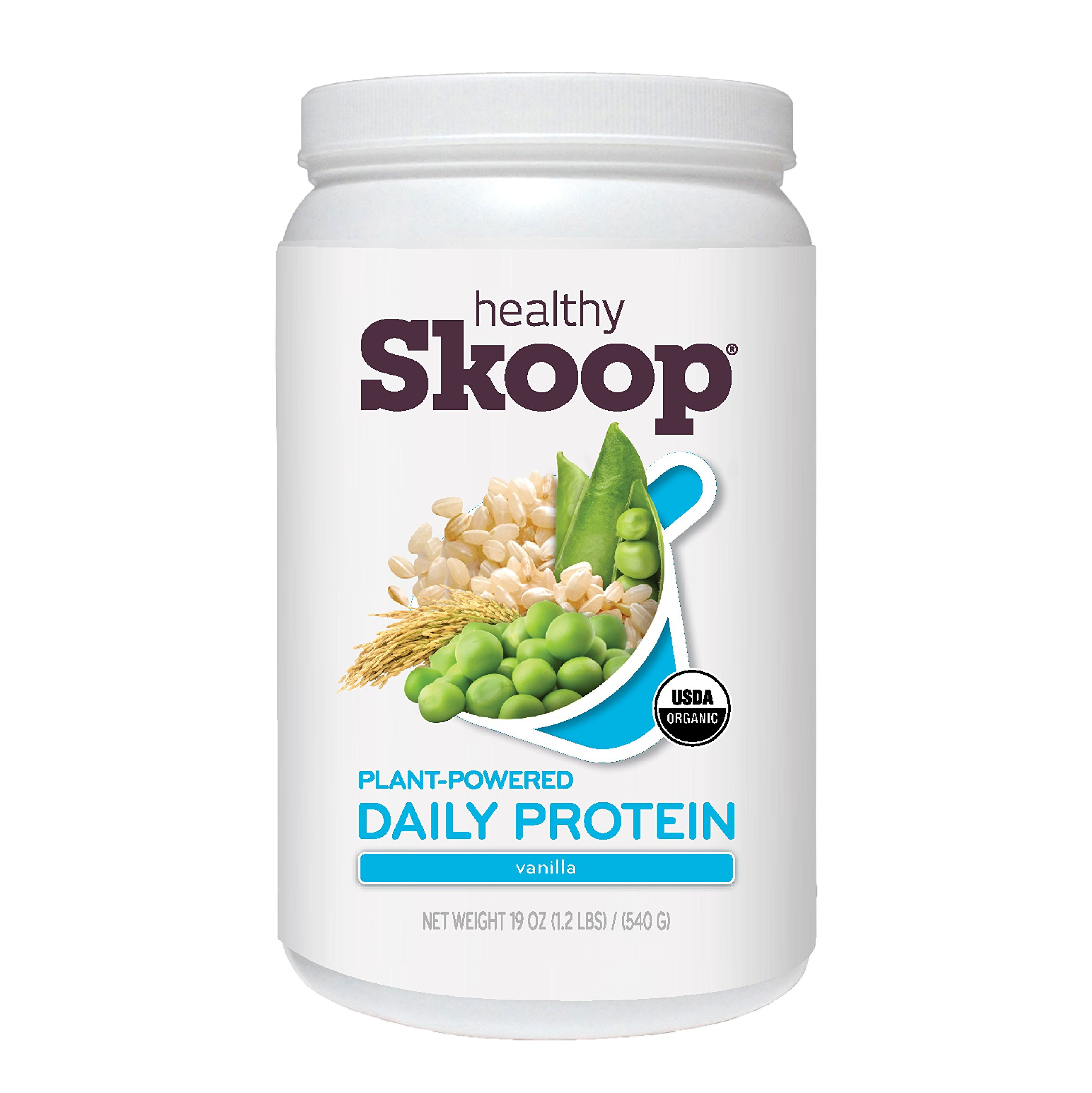 Healthy Skoop Organic, Plant-Powered Daily Protein, Vanilla 19 Ounce