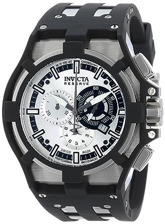 2f26beff1 Invicta Men's 14011 Akula Reserve Chronograph Silver Dial Black  Polyurethane Watch