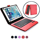 9-10.1'' Inch tablet keyboard case, COOPER INFINITE EXECUTIVE 2-in-1 Wireless Bluetooth Keyboard Magnetic Leather Travel Windows Android Carrying Cases Cover Holder Folio Portfolio + Stand (Red)