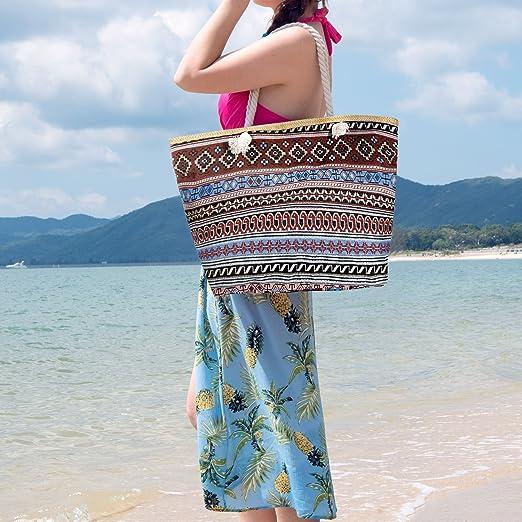 Czemo Bolsa de Playa Grande con Cremallera de Mujer Bolso de Mano Shopper Bolsa Totalizadores del Recorrido