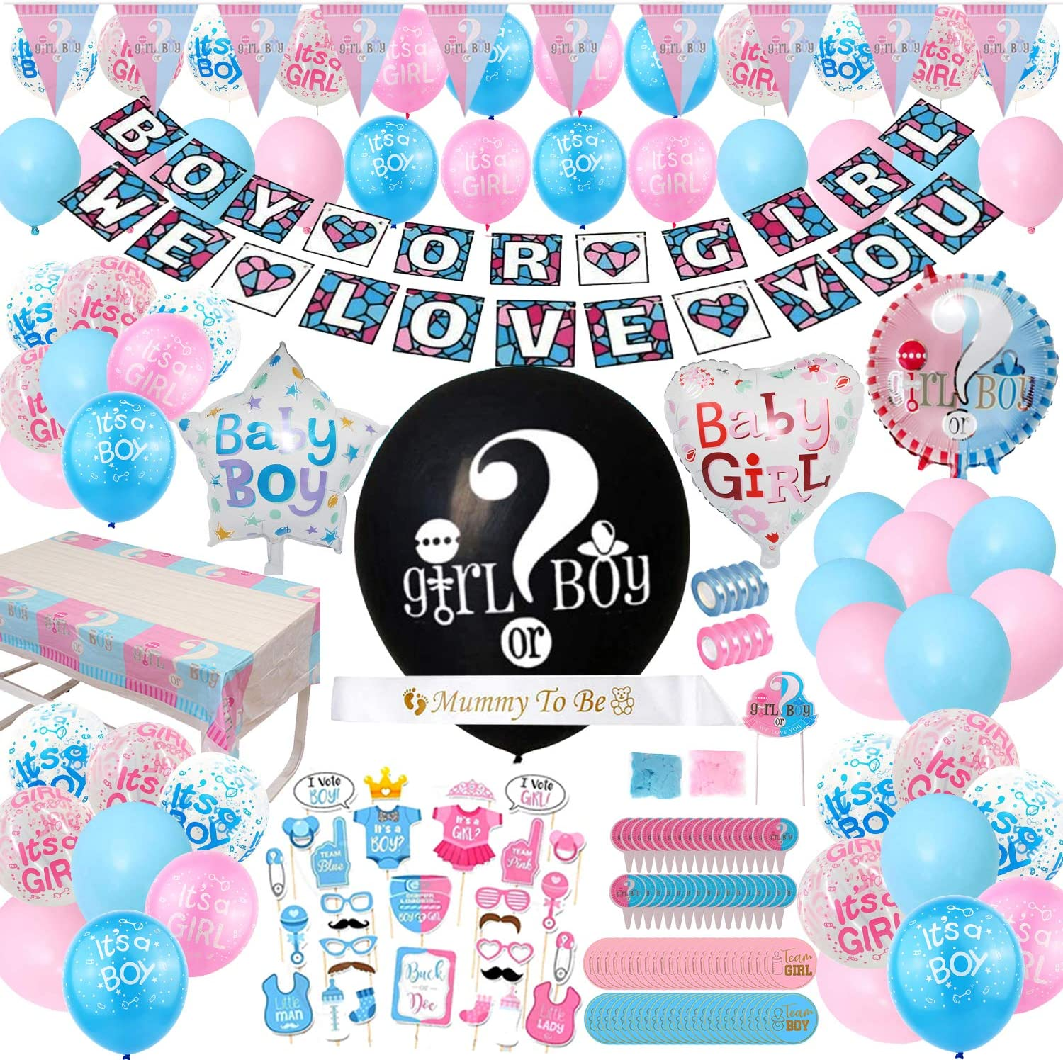 Gender Reveal Party Supplies - (200 Pieces) 36 Inch Reveal Balloon, Boy or Girl Banner, Mommy To Be Sash, Baby Shower Decorations, Foil Balloons and Boy Or Girl Balloons, Team Girl & Boy Stickers, Cake Topper Much More