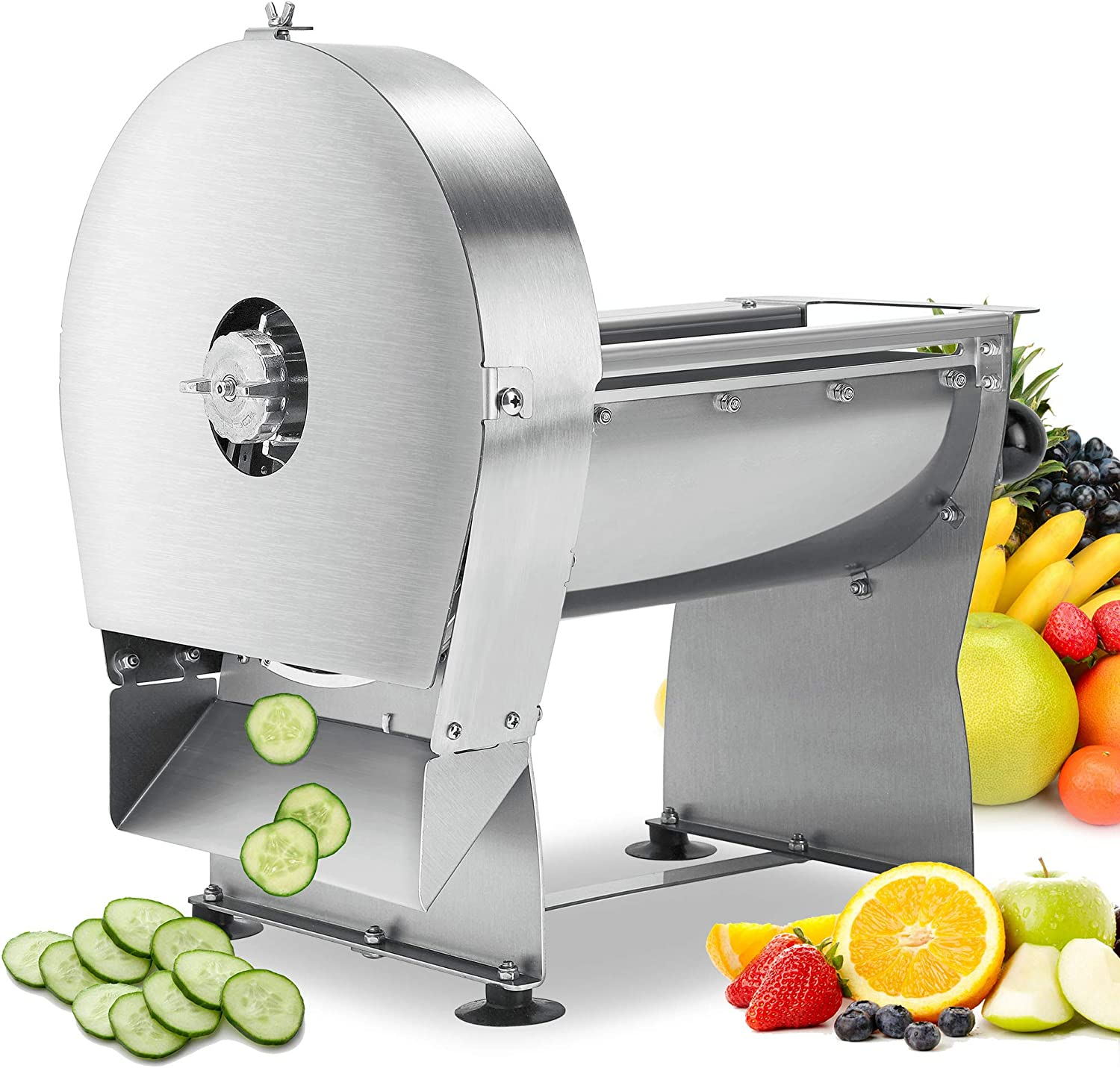 Mxmoonant Electric Manual Vegetable Slicer Commercial Fruit Shredder Adjustable Thickness 0-0.39''(0-10mm) Stainless Steel Blade for Slicing Onion Ginger Lemon Cabbage