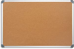Blue Summit Supplies 24 Inch x 36 Inch Corkboard with Aluminum Frame, Bulletin Board with Included Push Pins for Office, Classroom, or Home, Mounting Hardware Included