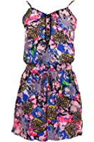 FANTASIA Ladies Strappy Chiffon Lined Floral Elasticated Waist Camisole Women's Playsuit