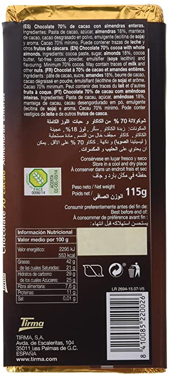 Chocolate Tirma Tableta 115G 70% Cacao Con Almendras Enteras: Amazon.es: Alimentación y bebidas