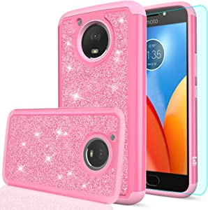 LeYi Moto E4 Plus Glitter Case (USA Version) (Not Fit Moto E4) with HD Screen Protector, Bling Girls Women Heavy Duty Protective Phone Case Cover for Motorola Moto E Plus (4th Generation) TP Pink