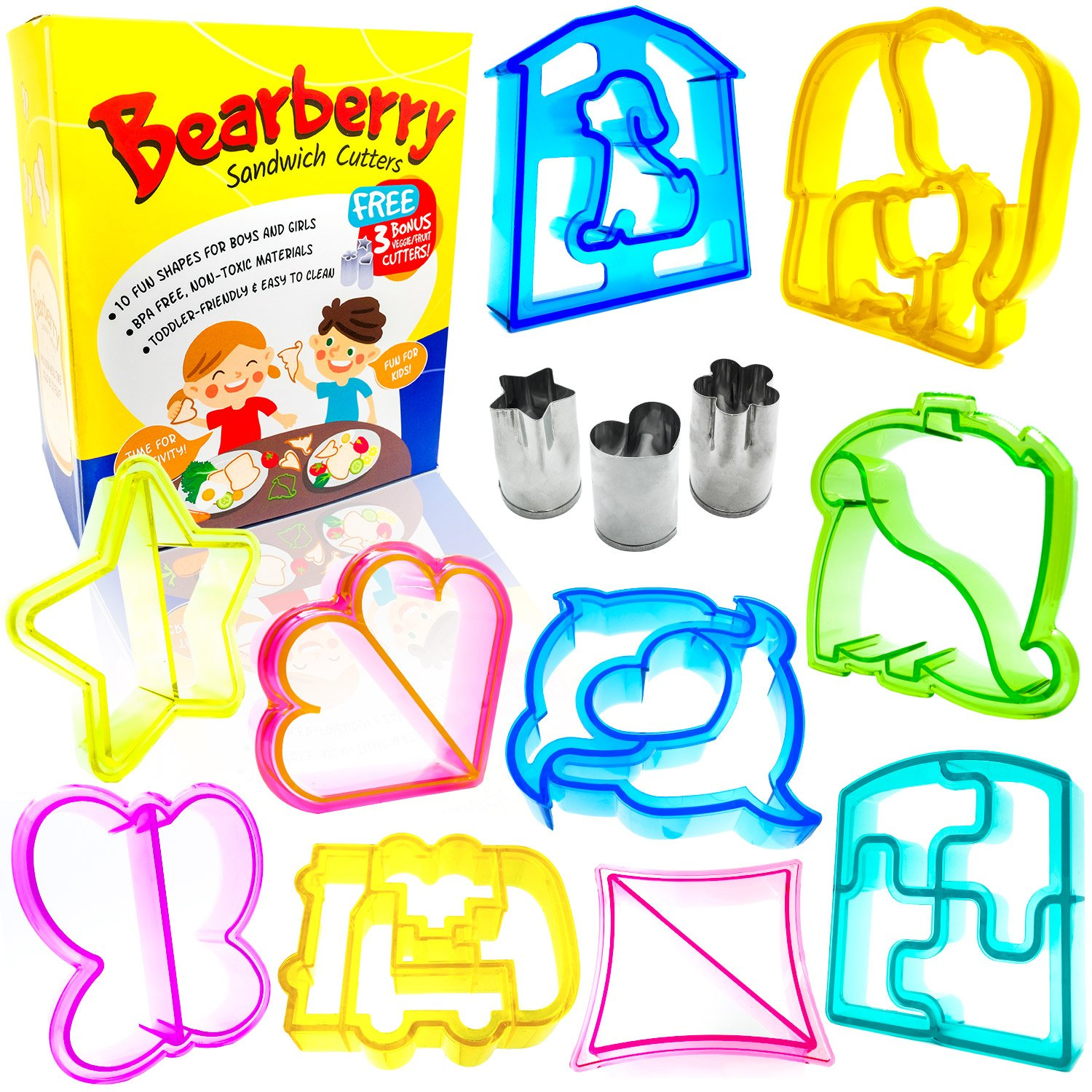 Bearberry Sandwich Cutters, Bread Crust & Cookie Stamp Set - Fun Heart, Dinosaur, Food Shapes for Kids Bento Lunch Box, Boys and Girls - GET FREE Mini Stainless Steel Vegetable & Fruit Press!