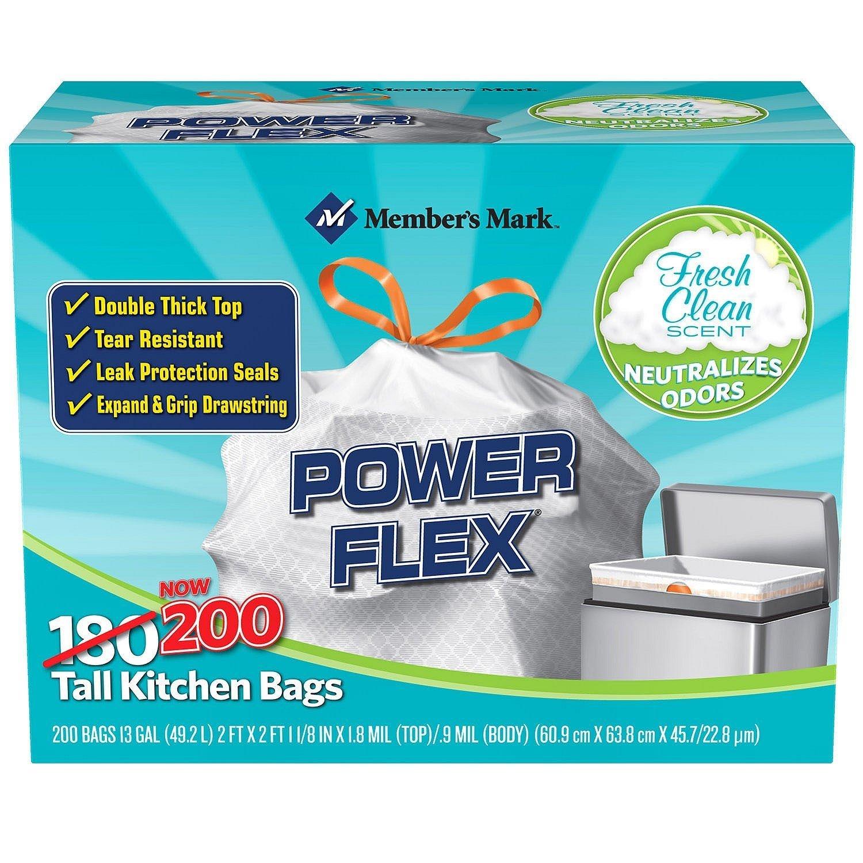 Amazon.com: Member\'s Mark Power Flex Tall Kitchen Drawstring Trash ...