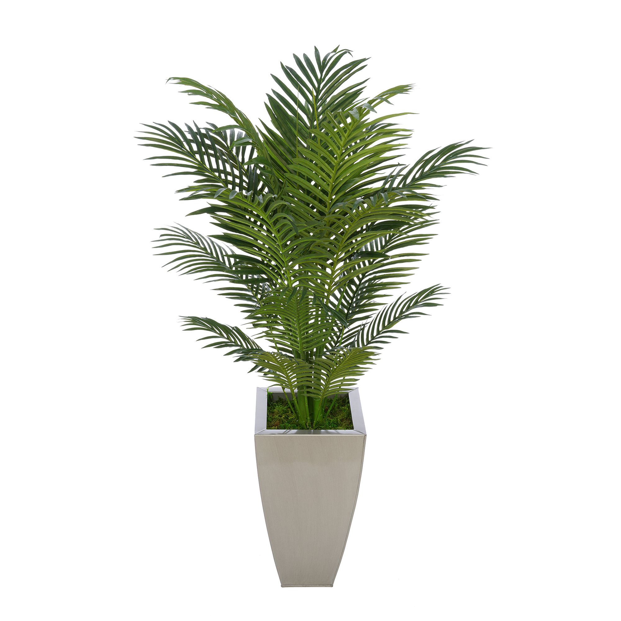House of Silk Flowers Artificial 4-1/2 foot Areca Palm in Tapered Square Zinc (Silver)