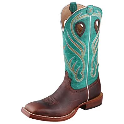34f952576f0 Amazon.com: Twisted X Men's Saddle And Green Ruff Stock Cowboy Boot ...