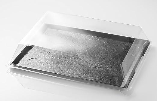 Bandeja de plástico imitación Pizarra con tapa 31,7x24x1 cm ...