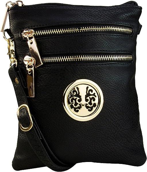 9528a3d48294 Mia K. Farrow Women's Trios Crossbody Handbag, Black: Handbags ...