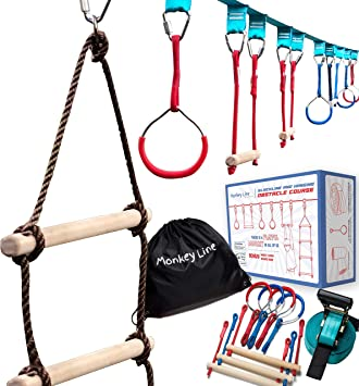 Ninja Warrior Training Equipment Kids 50 Feet | W/ Ladder | The Perfect Outdoor Ninja Line Hanging Obstacle Course | Ninja Warrior Obstacle Kit
