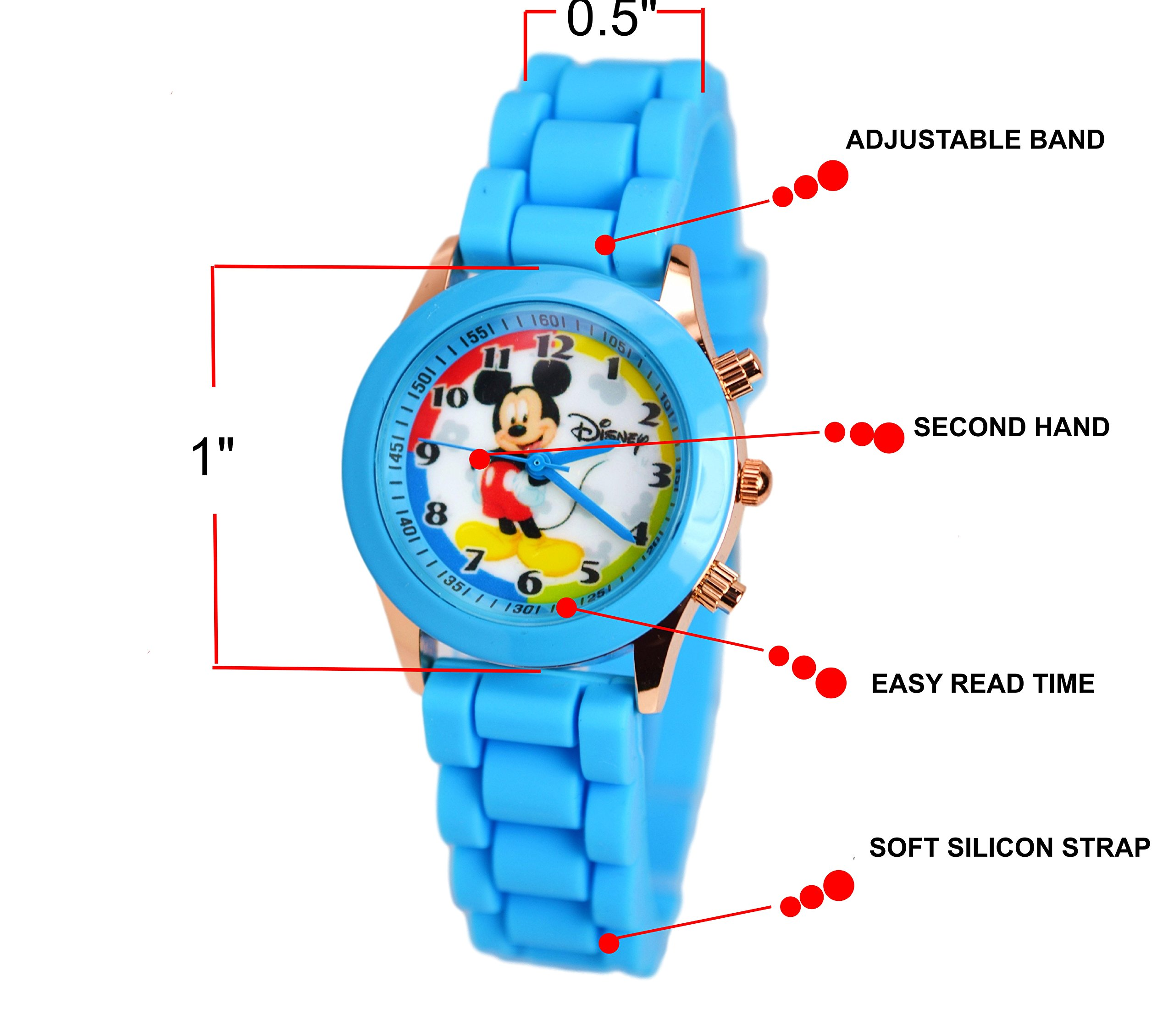 Disney Mickey Mouse Watch W/Fashion Buttons In Can Pen/Glasses Box. Small Analog Display. (blue)