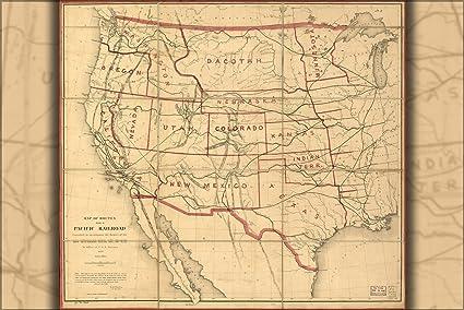 Amazon.com : 20x30 Poster; Map Of Transcontinental Railroad ...