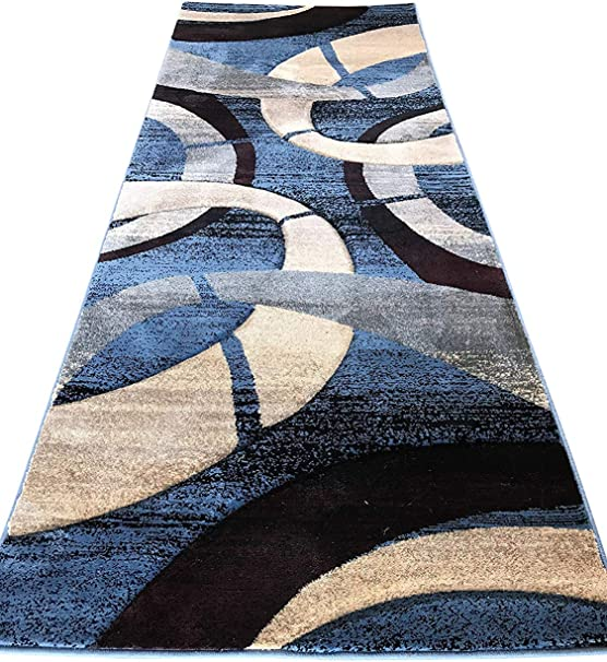 Amazon Com Modern Runner Area Rug Contemporary Geometric Blue Burgundy Black Beige Sculpture Design 248 32 Inch X 7 Feet Home Kitchen