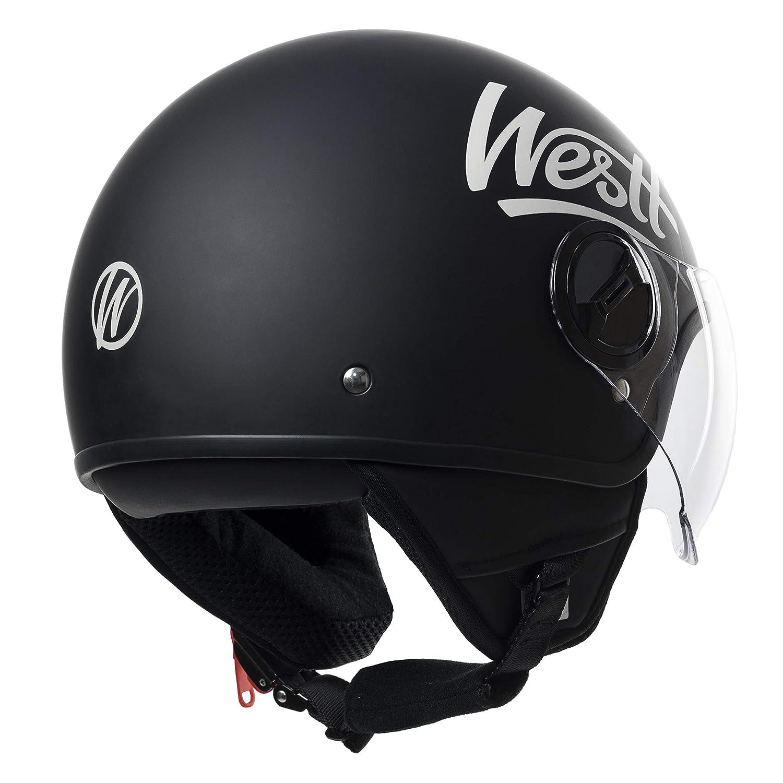 Westt/® Classic /· Casco Jet Vintage Moto Nero Opaco Scooter Motorino Chopper /· Casco Moto Donna e Uomo Demi Jet /· Omologato ECE
