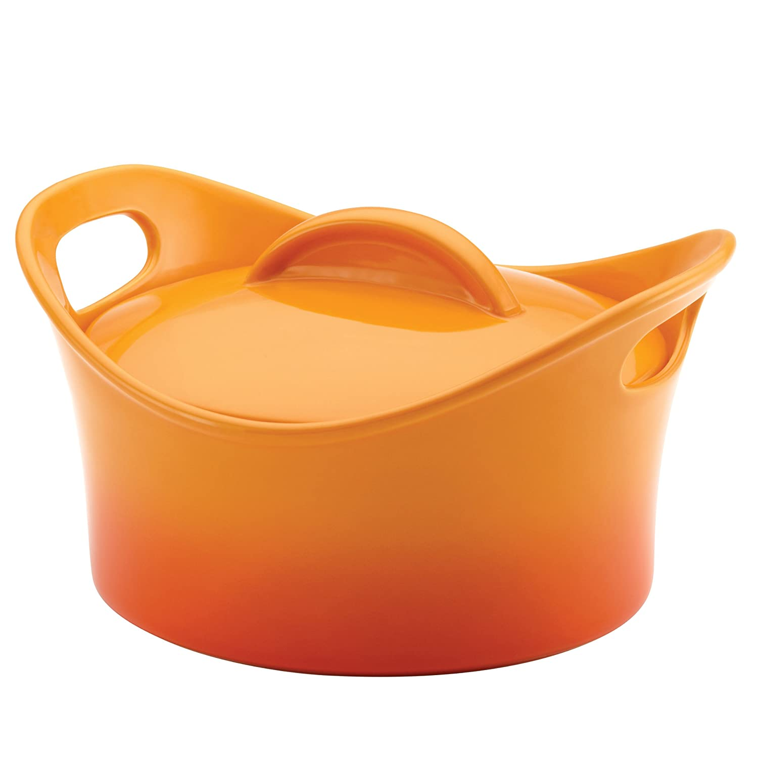 Rachael Ray Stoneware 2-3/4-Quart Covered Bubble and Brown Casserround Casserole, Two-Tone Orange Gradient Meyer 58533