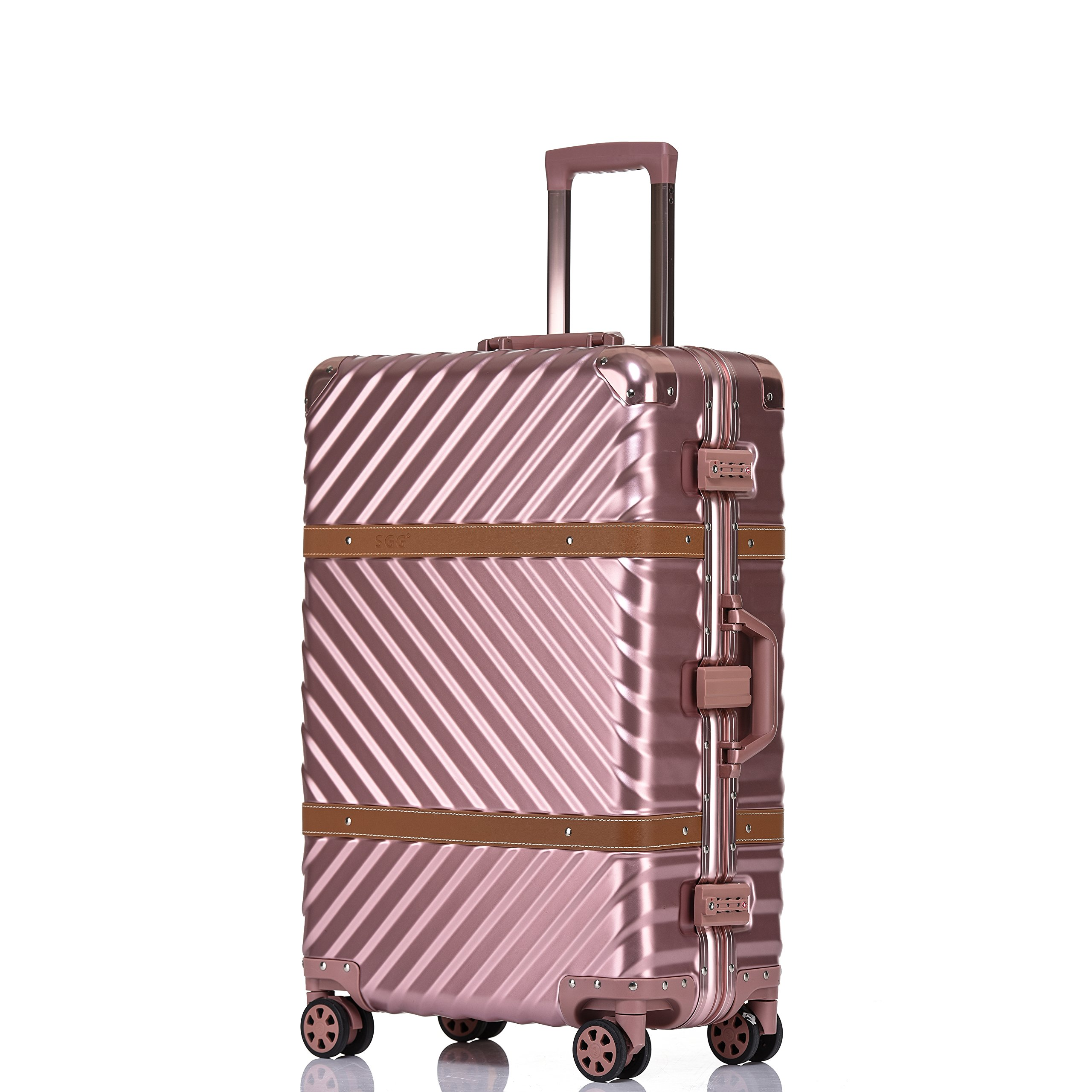 Aluminum Frame Luggage, 28 Inch Hardside Fashion Suitcase with Detachable Spinner Wheels, Rose Gold
