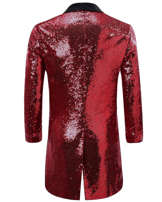 202beb22 Men's Tuxedo Single-Breasted Party Show Suit Sequins Punk Jacket Blazer at  Amazon Men's Clothing store: