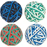 Set of 4 Colorful Rubber Band Balls - Elastic Rubber Bands Pack, Rubber Band Balls for DIY, Arts & Crafts, Document Organizing, White, Green, Black, Red, Blue