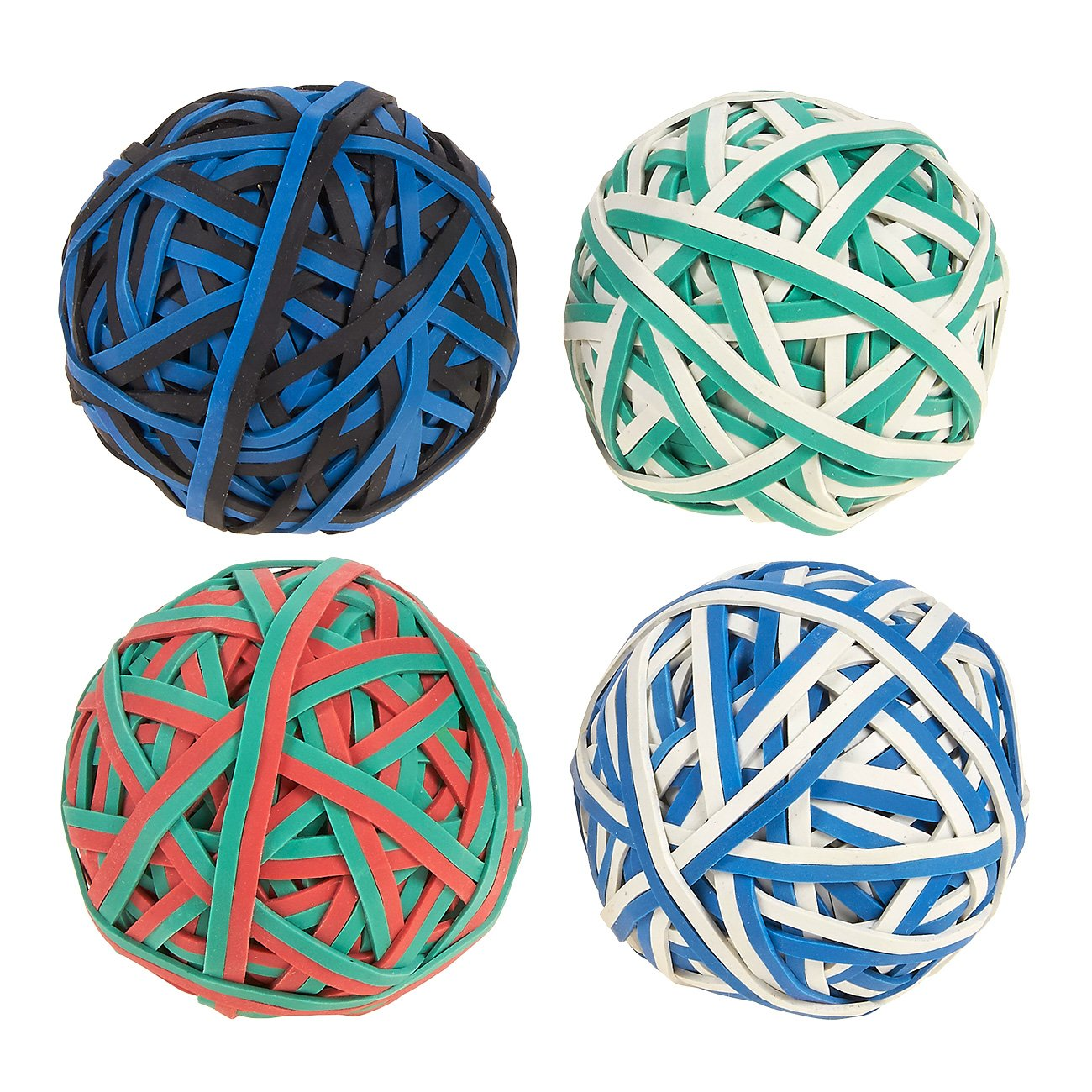Set of 4 Colorful Rubber Band Balls - Elastic Rubber Bands Pack, Rubber Band Balls DIY, Arts & Crafts, Document Organizing, White, Green, Black, Red, Blue