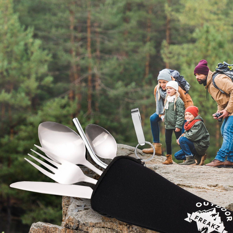 OUTDOOR FREAKZ Posate in Acciaio Inossidabile da Campeggio con Custodia in Neoprene.
