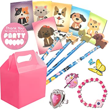 Girls Pre Filled Pink Party Bags Box Kids Birthday Wedding Gifts